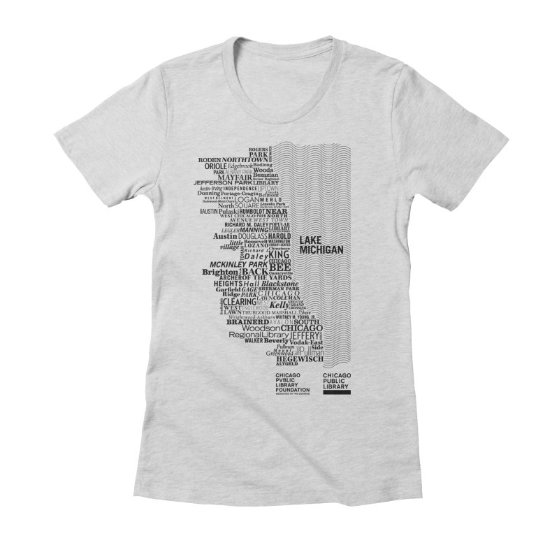 Chicago Public Library Map Black Women's Fitted T-Shirt by cplfoundation's Artist Shop