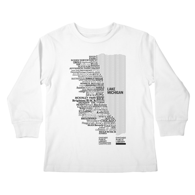 Chicago Public Library Map Black Kids Longsleeve T-Shirt by cplfoundation's Artist Shop