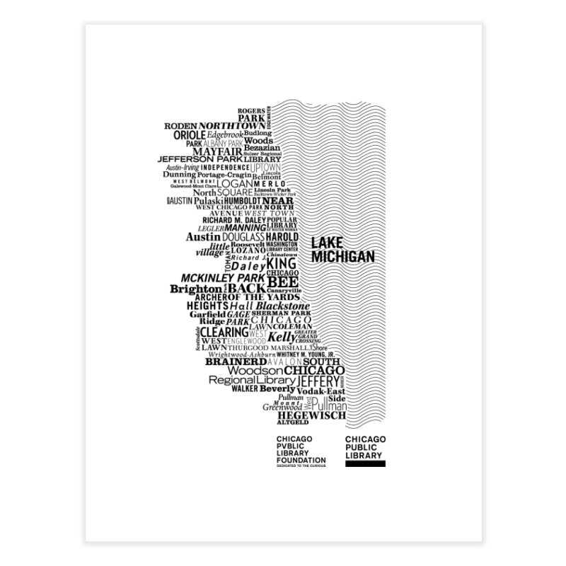 Chicago Public Library Map Black Home Fine Art Print by cplfoundation's Artist Shop