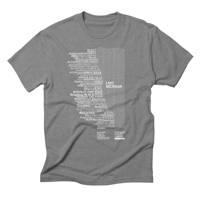 Chicago Public Library Map Men's Triblend T-Shirt by cplfoundation's Artist Shop
