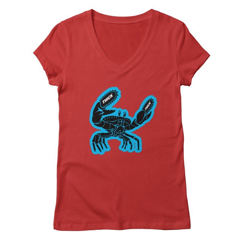 Crab On Acid Women's Regular V-Neck by Crab Saw Apparel