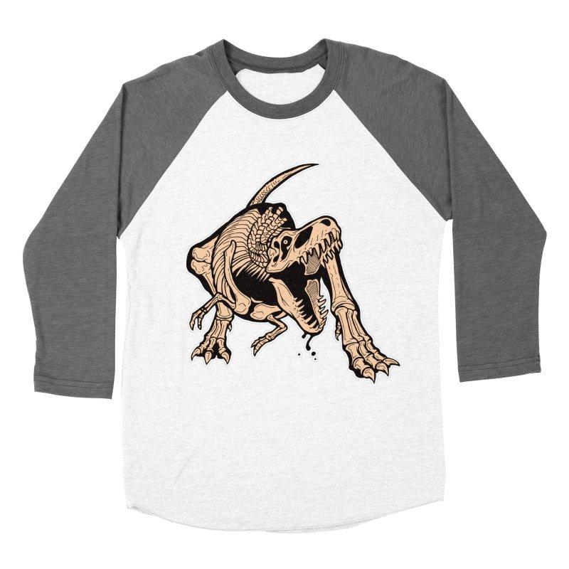 T-rex Women's Baseball Triblend Longsleeve T-Shirt by Crab Saw Apparel