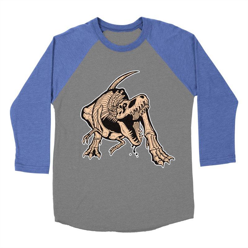 T-rex Men's Baseball Triblend Longsleeve T-Shirt by Crab Saw Apparel