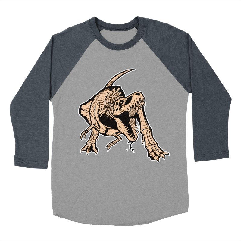 T-rex Men's Baseball Triblend Longsleeve T-Shirt by Crab Saw Apparel