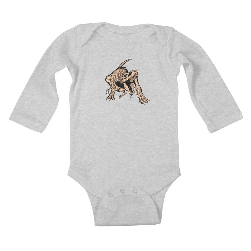 T-rex Kids Baby Longsleeve Bodysuit by Crab Saw Apparel