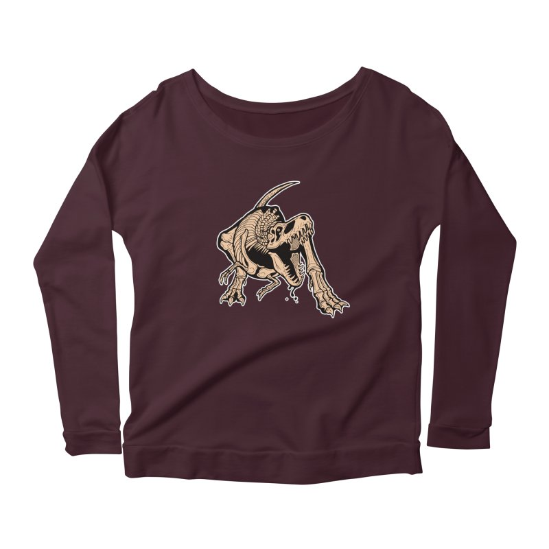T-rex Women's Scoop Neck Longsleeve T-Shirt by Crab Saw Apparel