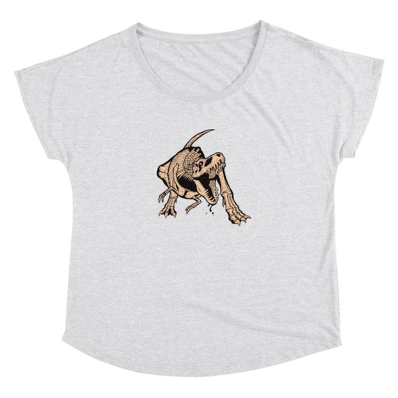 T-rex Women's Dolman Scoop Neck by Crab Saw Apparel