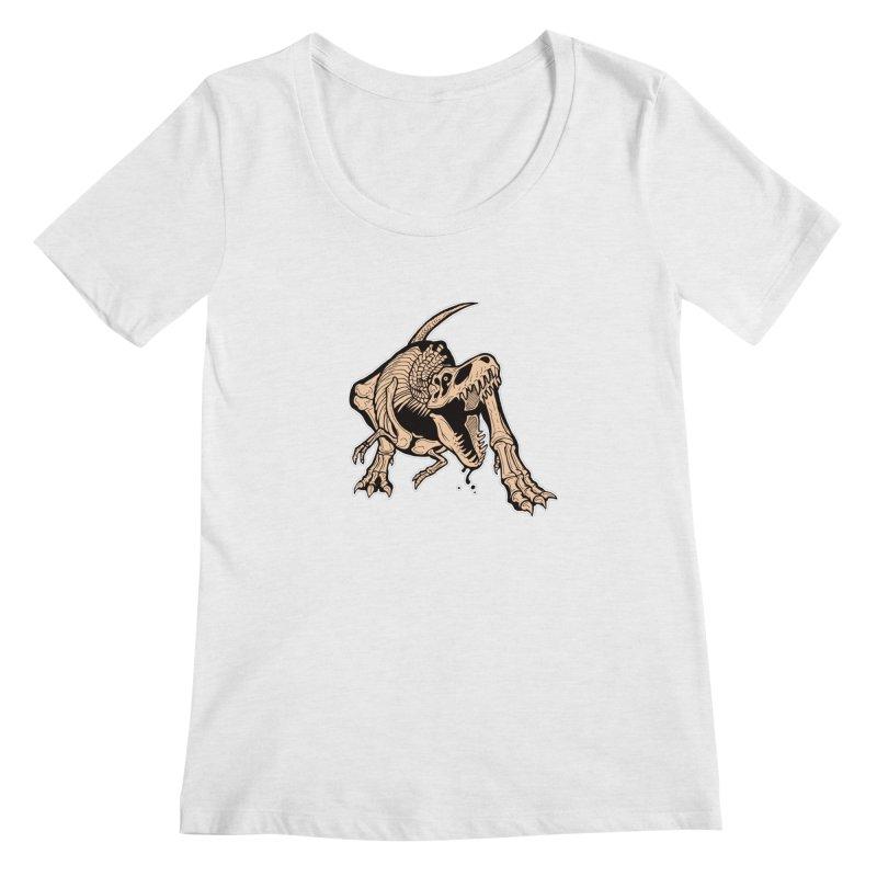 T-rex Women's Regular Scoop Neck by Crab Saw Apparel