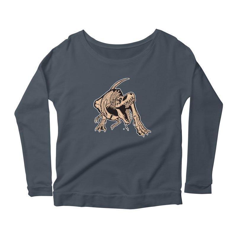 T-rex Women's Scoop Neck Longsleeve T-Shirt by Crab Saw Apparel