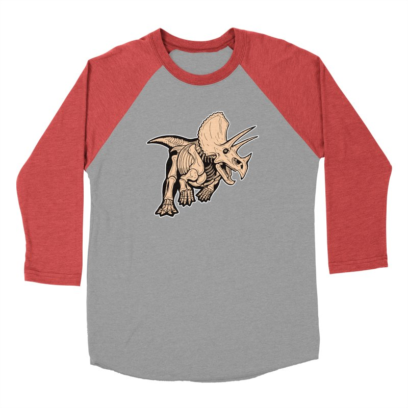 Triceratops Men's Baseball Triblend Longsleeve T-Shirt by Crab Saw Apparel