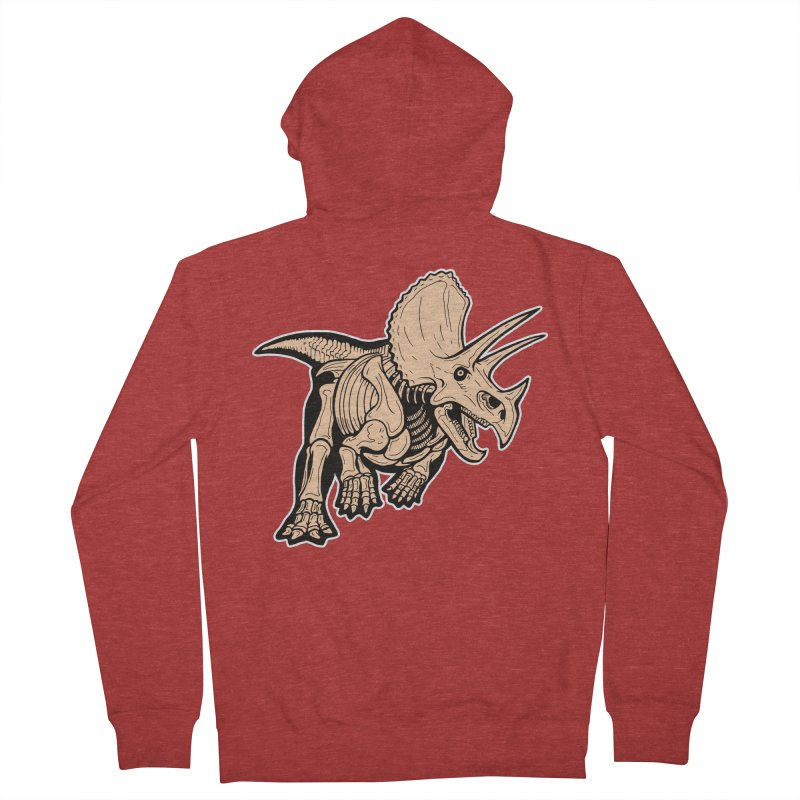 Triceratops Women's French Terry Zip-Up Hoody by Crab Saw Apparel