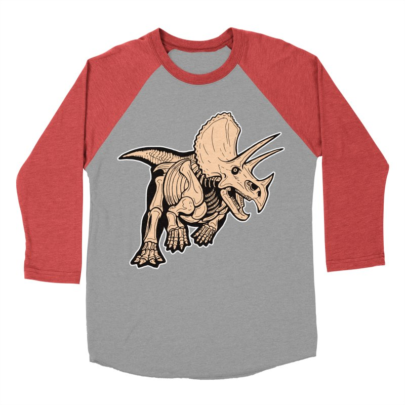 Triceratops Women's Baseball Triblend Longsleeve T-Shirt by Crab Saw Apparel