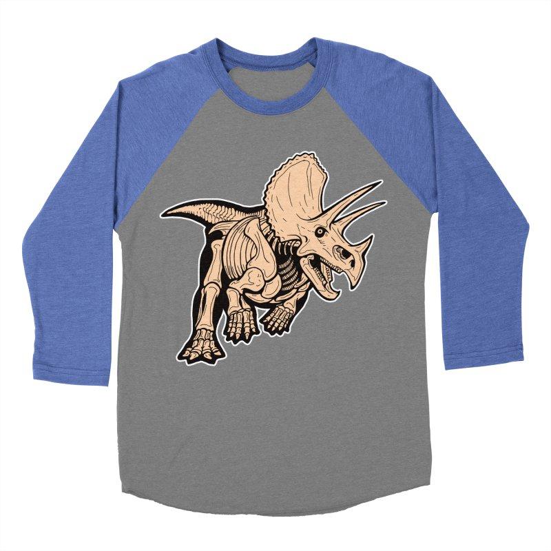 Triceratops Men's Baseball Triblend Longsleeve T-Shirt by Crab Saw Apparel