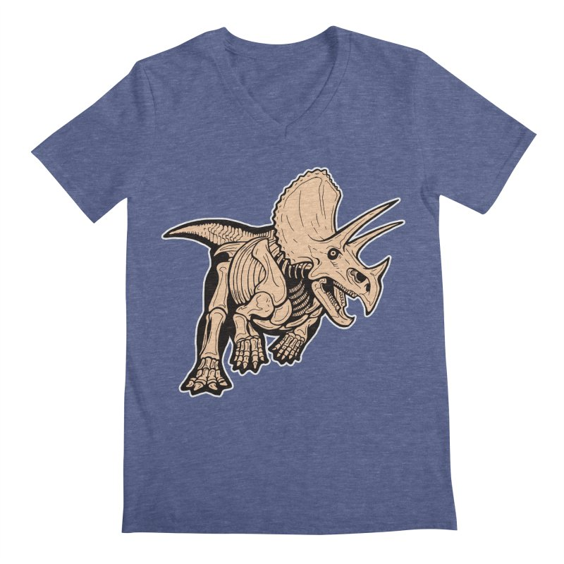 Triceratops Men's Regular V-Neck by Crab Saw Apparel
