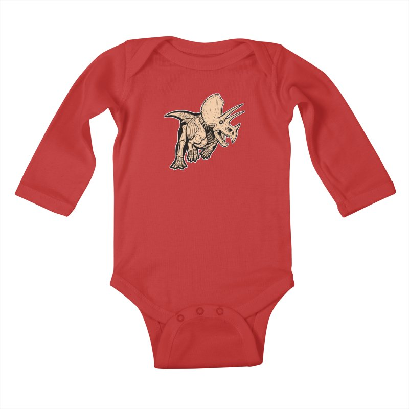 Triceratops Kids Baby Longsleeve Bodysuit by Crab Saw Apparel