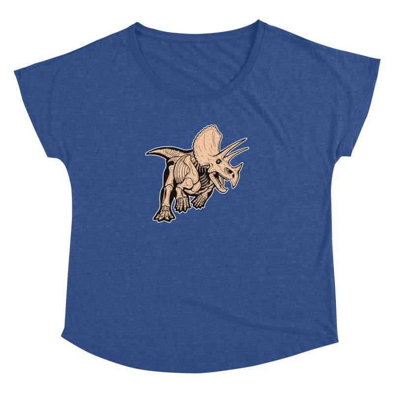 Triceratops Women's Dolman Scoop Neck by Crab Saw Apparel