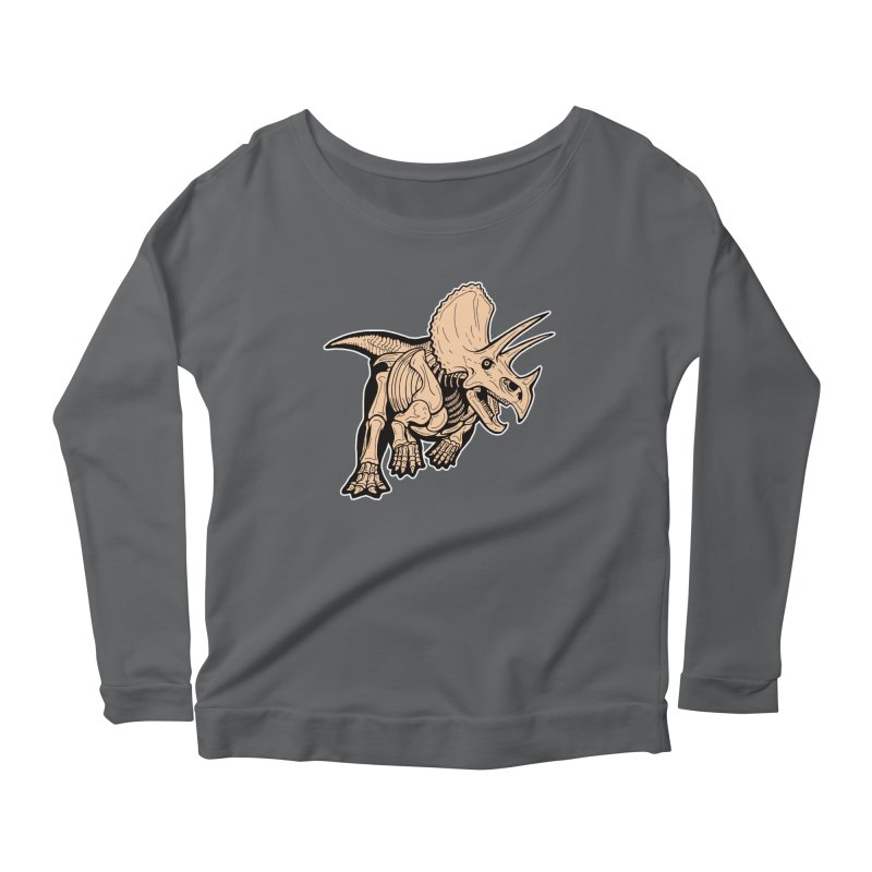 Triceratops Women's Scoop Neck Longsleeve T-Shirt by Crab Saw Apparel
