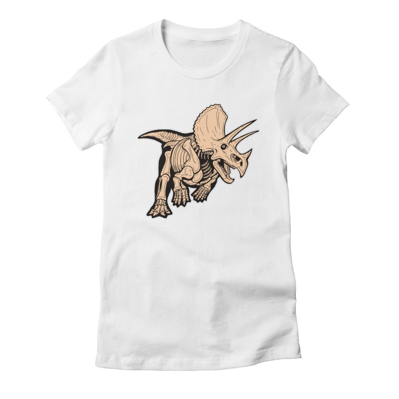 Triceratops Women's Fitted T-Shirt by Crab Saw Apparel