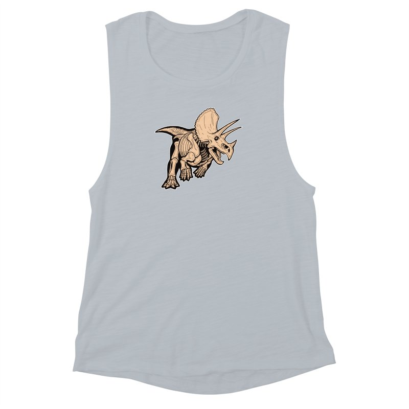Triceratops Women's Muscle Tank by Crab Saw Apparel