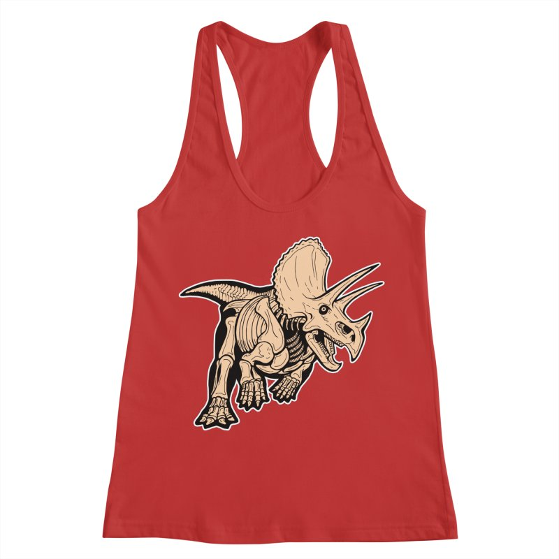 Triceratops Women's Racerback Tank by Crab Saw Apparel