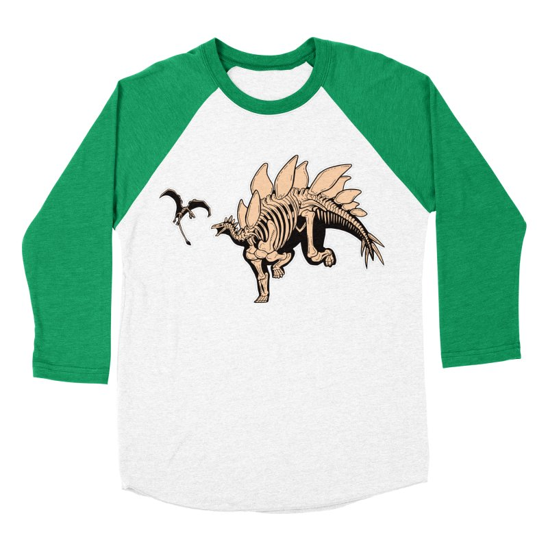 Stegosaurus Women's Baseball Triblend Longsleeve T-Shirt by Crab Saw Apparel