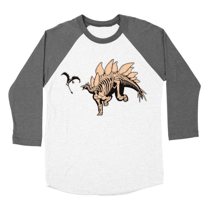 Stegosaurus Men's Baseball Triblend Longsleeve T-Shirt by Crab Saw Apparel
