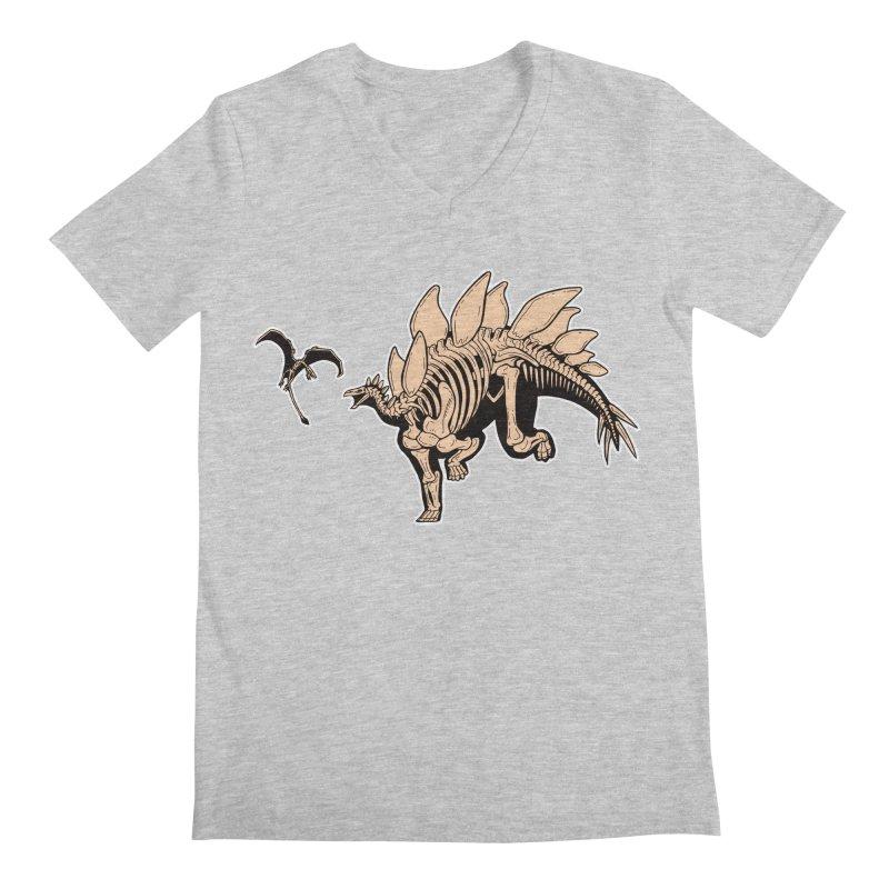 Stegosaurus Men's Regular V-Neck by Crab Saw Apparel