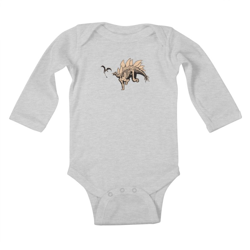 Stegosaurus Kids Baby Longsleeve Bodysuit by Crab Saw Apparel