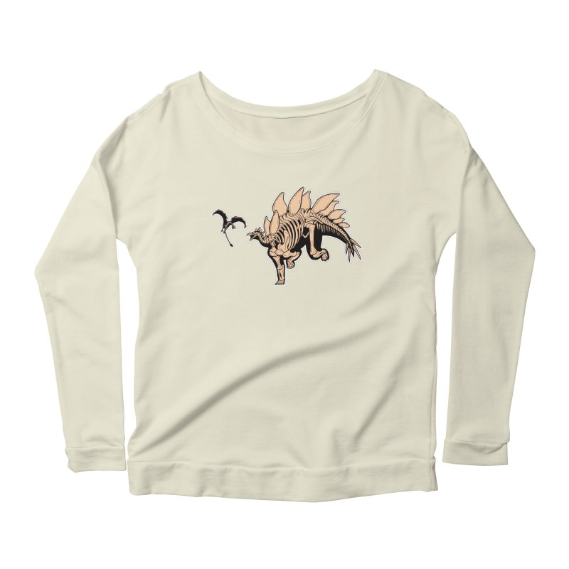 Stegosaurus Women's Scoop Neck Longsleeve T-Shirt by Crab Saw Apparel