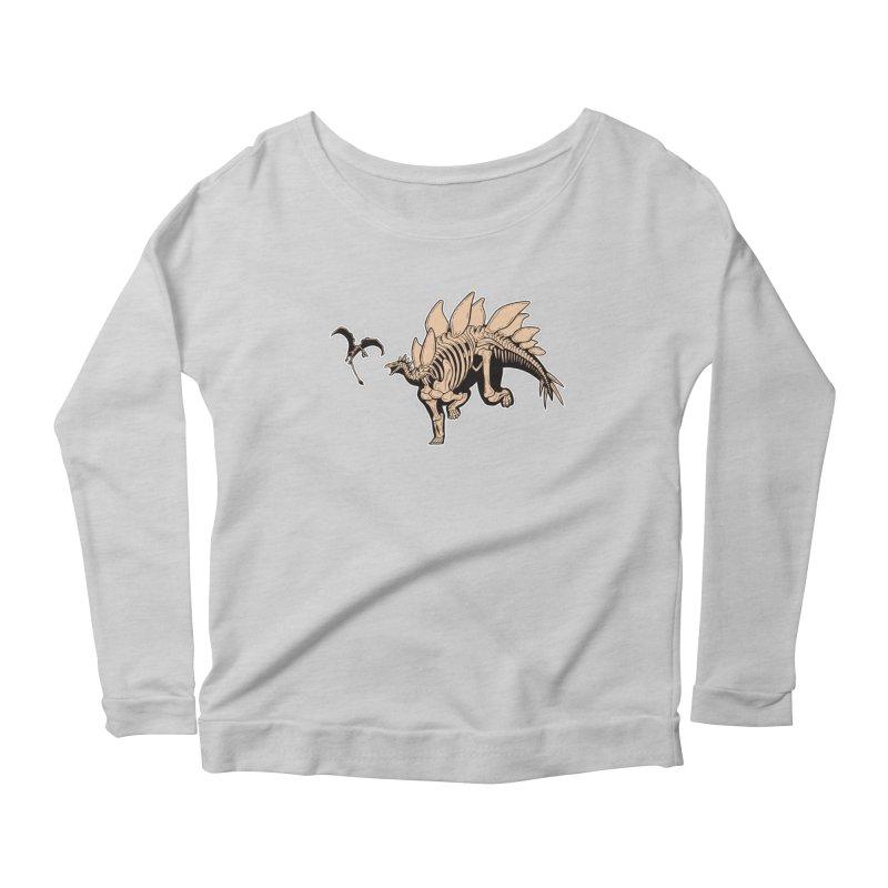 Stegosaurus Women's Scoop Neck Longsleeve T-Shirt by Crab Saw Apparel