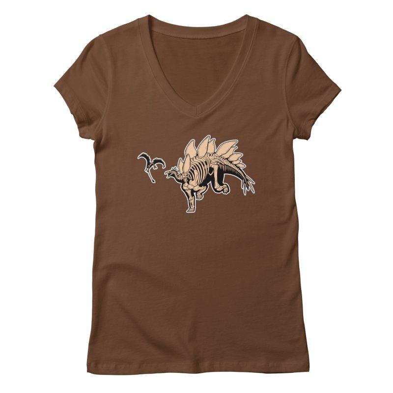 Stegosaurus Women's Regular V-Neck by Crab Saw Apparel