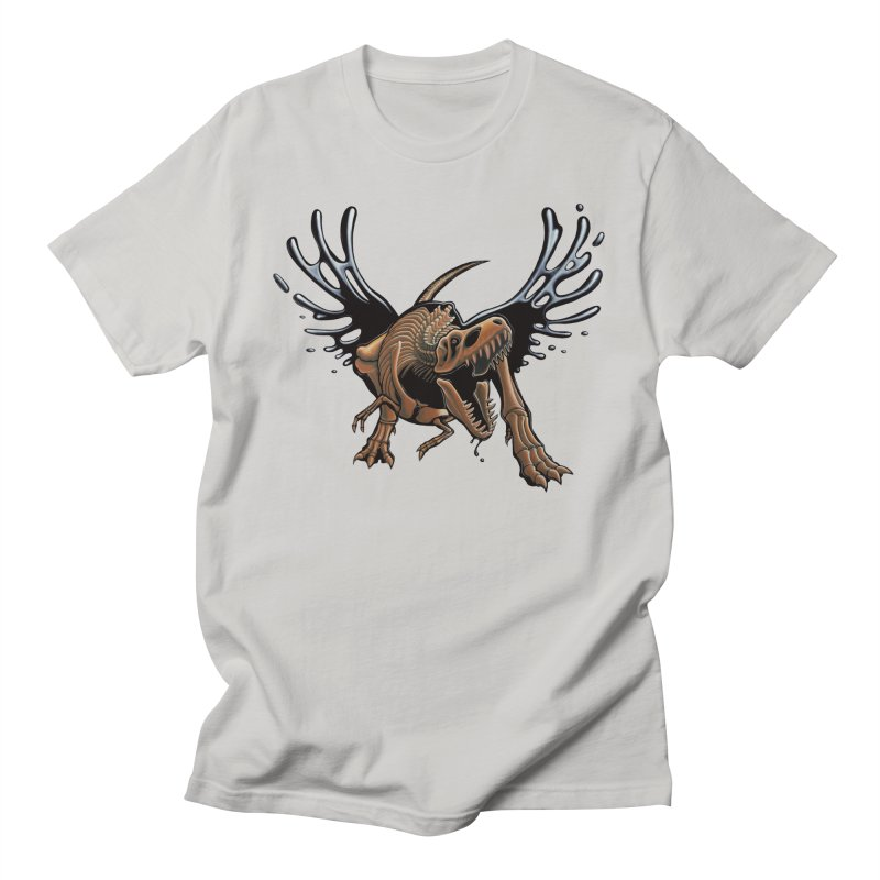 T-Rex Tar & Feathered in Men's Regular T-Shirt Stone by Crab Saw Apparel
