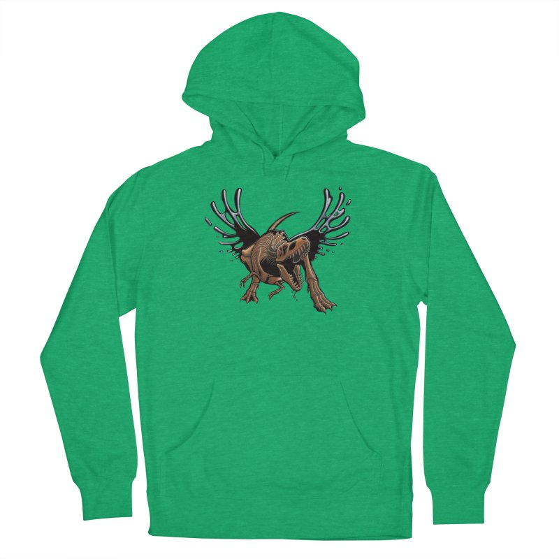 T-Rex Tar & Feathered Women's French Terry Pullover Hoody by Crab Saw Apparel