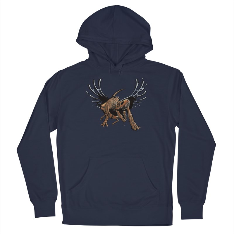 T-Rex Tar & Feathered Men's French Terry Pullover Hoody by Crab Saw Apparel