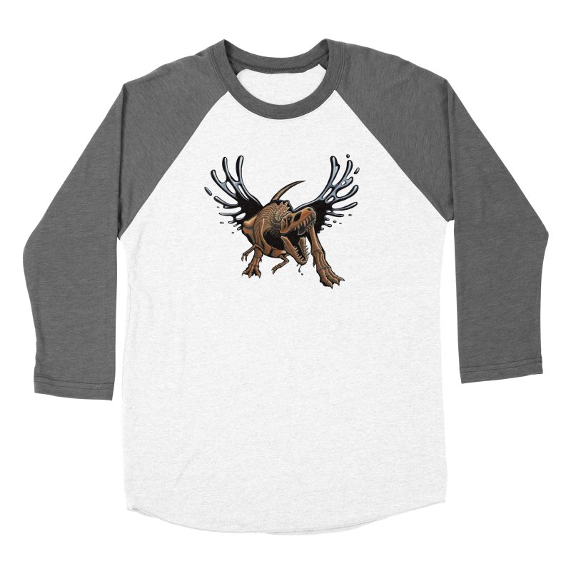 T-Rex Tar & Feathered Men's Baseball Triblend Longsleeve T-Shirt by Crab Saw Apparel