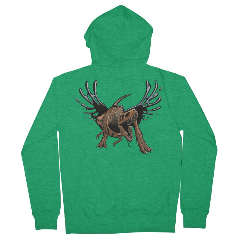 T-Rex Tar & Feathered Women's French Terry Zip-Up Hoody by Crab Saw Apparel