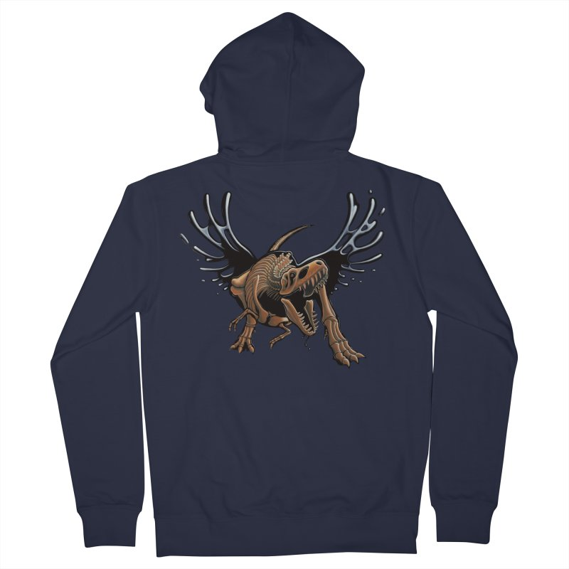 T-Rex Tar & Feathered Men's French Terry Zip-Up Hoody by Crab Saw Apparel