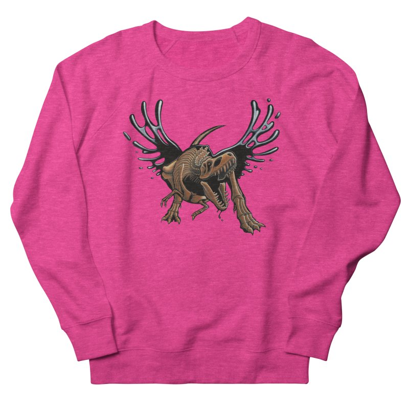 T-Rex Tar & Feathered Women's French Terry Sweatshirt by Crab Saw Apparel