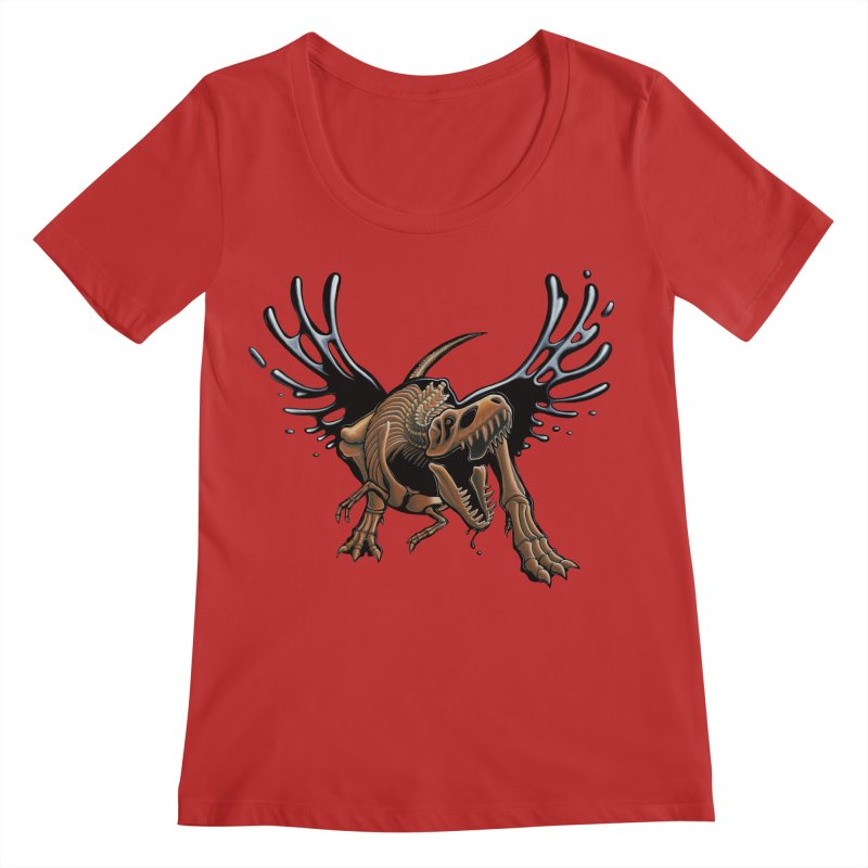 T-Rex Tar & Feathered Women's Regular Scoop Neck by Crab Saw Apparel
