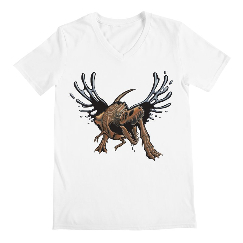 T-Rex Tar & Feathered Men's Regular V-Neck by Crab Saw Apparel