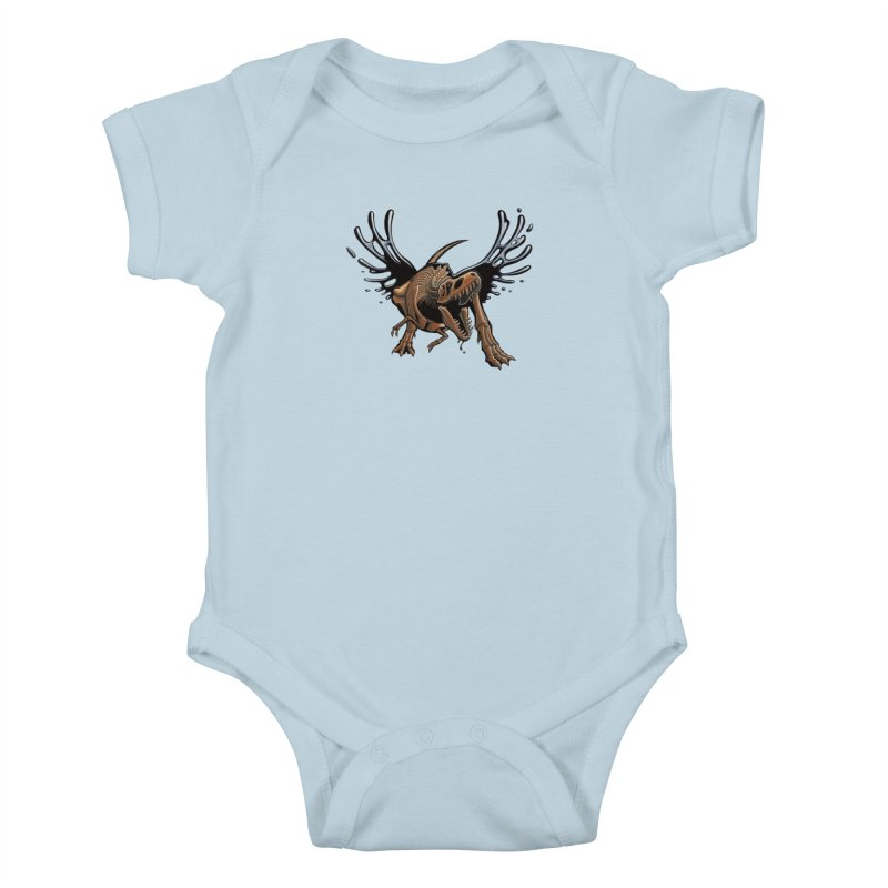 T-Rex Tar & Feathered Kids Baby Bodysuit by Crab Saw Apparel