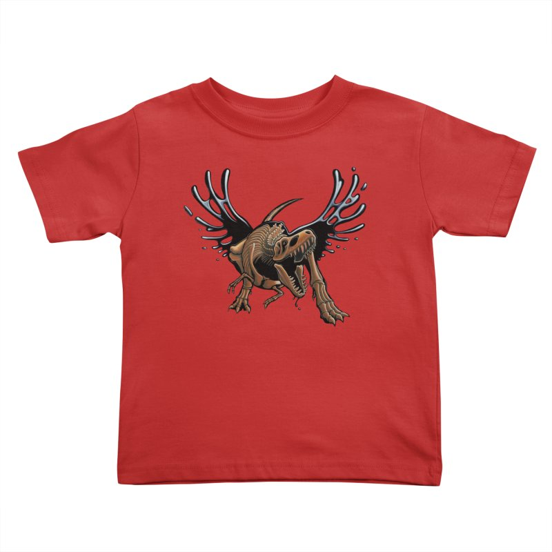 T-Rex Tar & Feathered Kids Toddler T-Shirt by Crab Saw Apparel