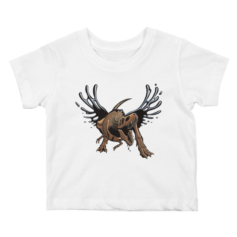 T-Rex Tar & Feathered Kids Baby T-Shirt by Crab Saw Apparel