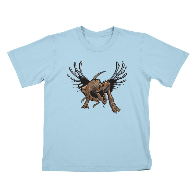 T-Rex Tar & Feathered Kids T-Shirt by Crab Saw Apparel