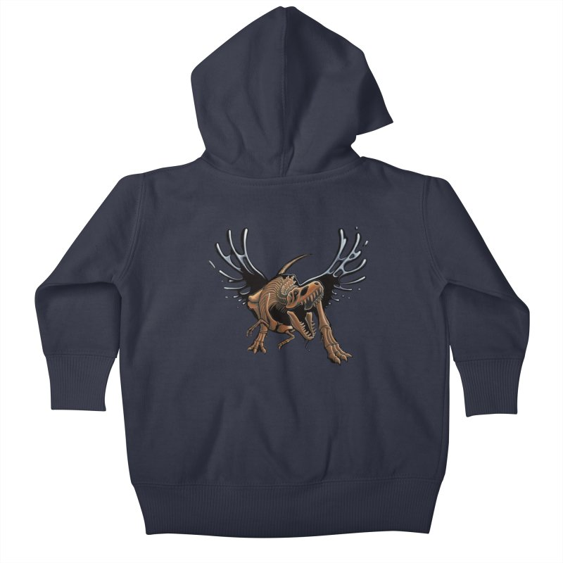 T-Rex Tar & Feathered Kids Baby Zip-Up Hoody by Crab Saw Apparel