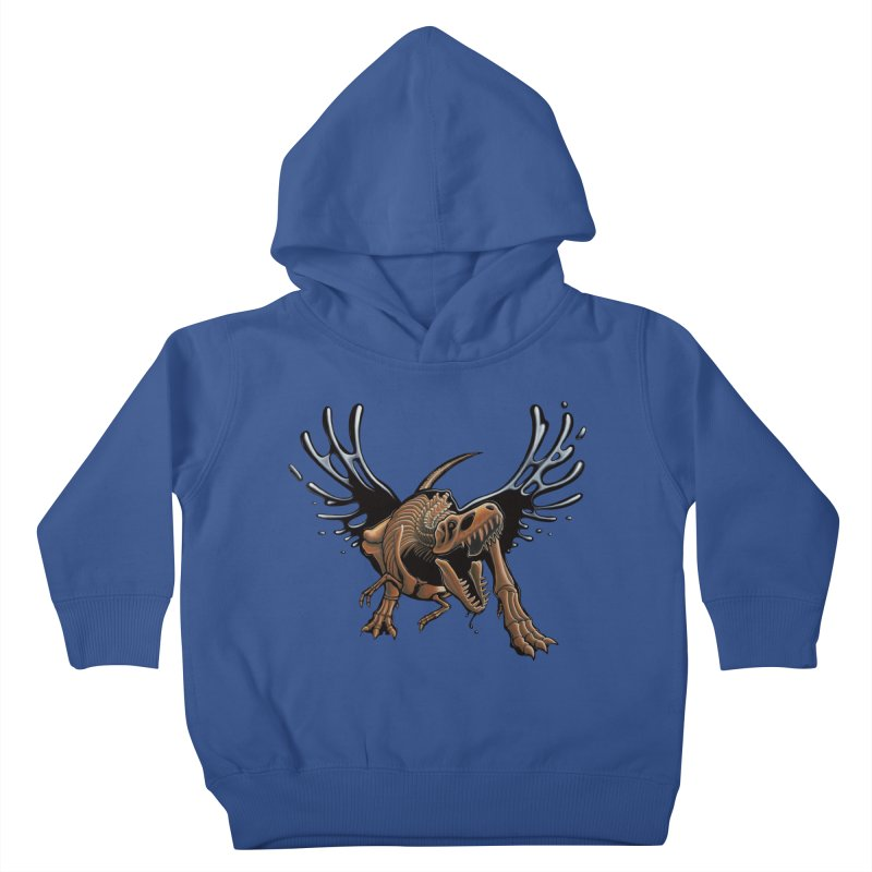 T-Rex Tar & Feathered Kids Toddler Pullover Hoody by Crab Saw Apparel
