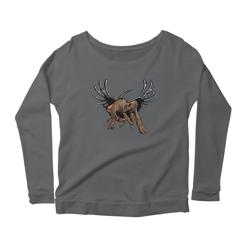 T-Rex Tar & Feathered Women's Scoop Neck Longsleeve T-Shirt by Crab Saw Apparel