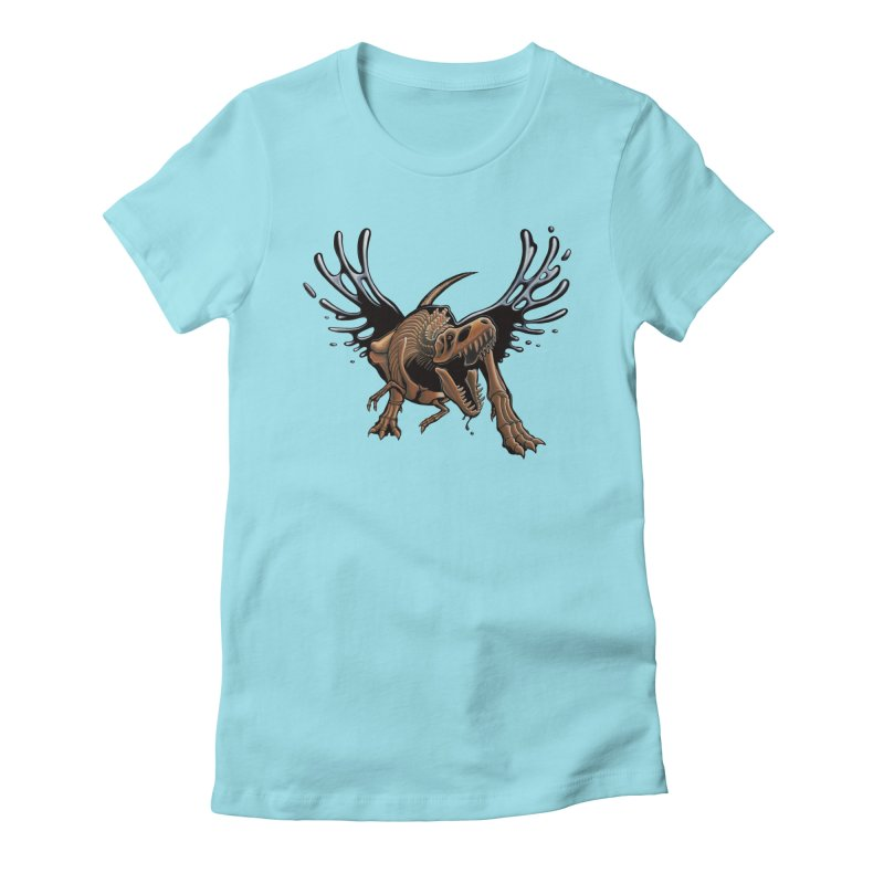 T-Rex Tar & Feathered Women's Fitted T-Shirt by Crab Saw Apparel