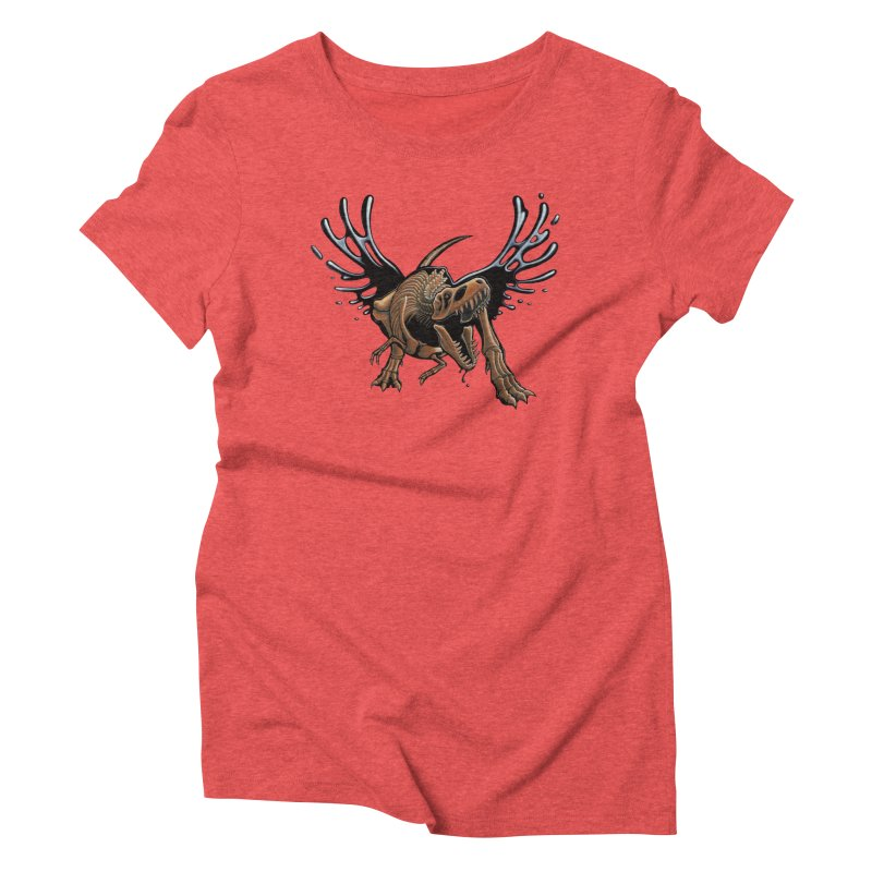 T-Rex Tar & Feathered Women's Triblend T-Shirt by Crab Saw Apparel