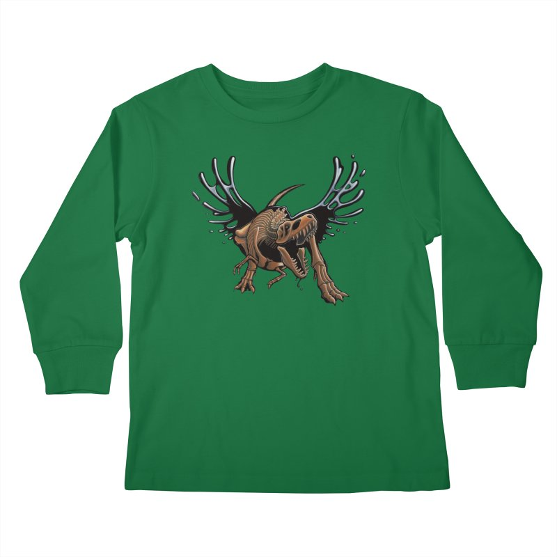 T-Rex Tar & Feathered Kids Longsleeve T-Shirt by Crab Saw Apparel